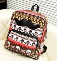 Color block 2014 backpack student school backpack skull bag preppy style backpack skull backpack travel bag