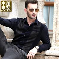 Shawm men's clothing plus velvet thickening male 2013 long-sleeve shirt slim casual shirt male
