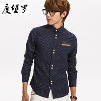 2013 male shirt fashion Men shirt male casual long-sleeve dot shirt male