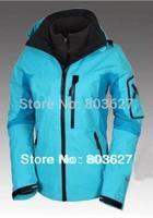 Free ship hot sale woman winter outdoor 3 layer 2in1 jacket waterproof windproof breathable coat Jackets No129 Sky blue