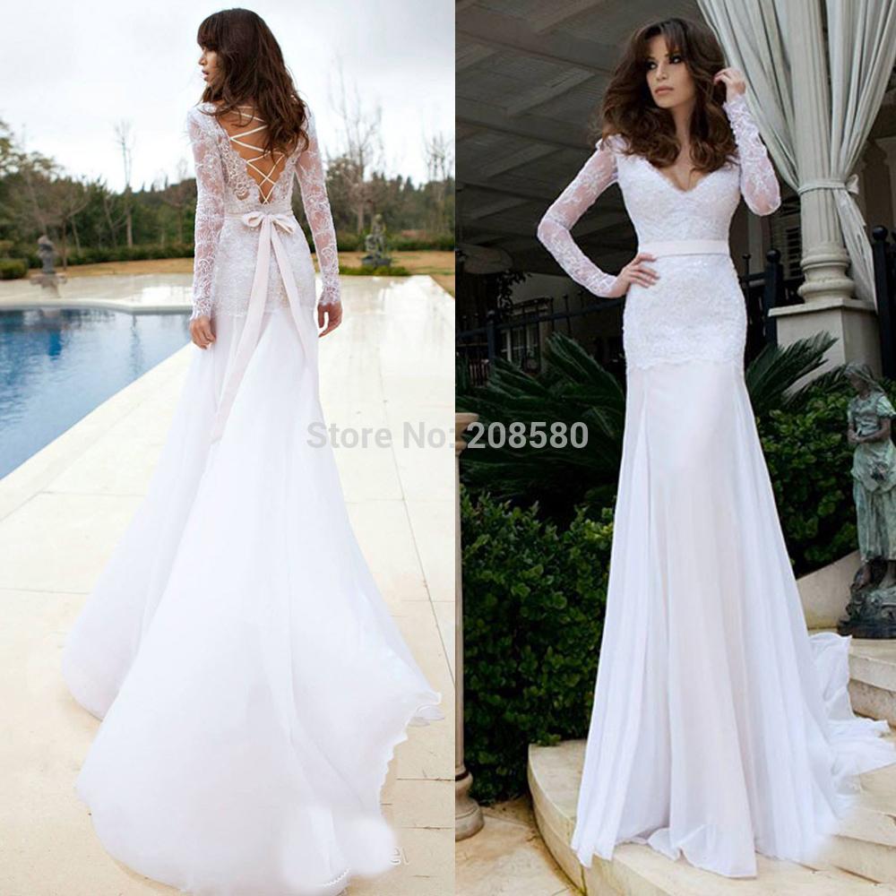 Russian vestido de noiva deep v neck white lace font b long b font