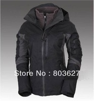 Free ship hot sale woman winter outdoor 3 layer 2in1 jacket waterproof windproof breathable coat Jackets No129 Black size S-XXL