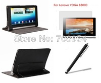 New Style Luuxry PU Leather Case Cover +Screen Protector+Stylus For Lenovo YOGA B8000 10.1 inch Tablet PC,free shipping!!!