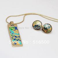 New Arrival! wholesale artistic national style vintage leaf enamel jewelry set