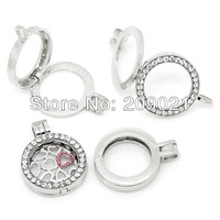 New Stylle 30X Floating Charm Locket Necklace DIY Rhinestone Round Silver Tone 3.6x2.8cm