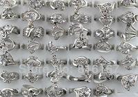 Fashion Jewelry Wholesale mixed lots 50pcs rhinestone silver plated lady's rings w3300