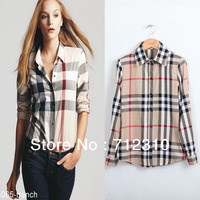 Drop Price 2014 Fashion Ladies' Elegant Plaid Print Spliced Summer Casual Chiffon Women's Blouse Shirt Long Brand Tops AS22