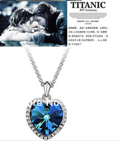 Fedex IE Free Shipping  Fashion Zircon Hearts Titanic Heart of Ocean Necklace Sweater Chain