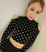 LZ crop top winter fashion short design sexy bare midriff strapless turtleneck gold velvet top basic shirt women's long-sleeve