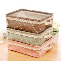Free shipping Japanese style fresh polka dot storage basket desktop cosmetics sundries storage basket storage box sn1520
