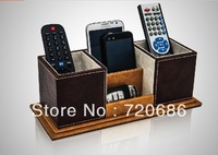 High Quality Leather TV remote control holder organizer media storage candy  boxes
