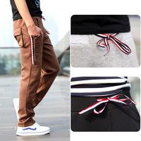 Top Quality!Spring 2014 New Arrival Mens Skinny Sweatpants Korean Style Cotton Casual Designer Sports Sweatpants Men Black Gray