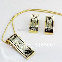 wholesale high quality new design fashion feather enamel jewelry set