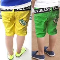2013 summer letter belt paragraph boys clothing baby child capris 5 pants kz-1627