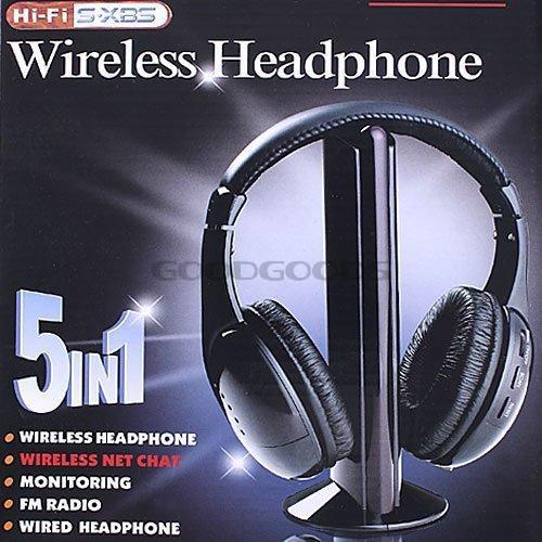 2014 New 5 in 1 HIFI Wireless headphone Earphone Headset wireless Monitor FM radio for TV CD MP3 PC FM free shipping(China (Mainland))