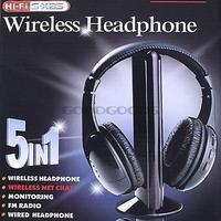 2014 New 5 in 1 HIFI Wireless headphone Earphone Headset wireless Monitor FM radio for TV CD MP3 PC FM free shipping