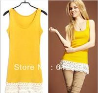 women rib cotton lace hem crochet basic shirt/tank top/halter/spaghetti strap/bustier/leotard/blusas pink white summer spring