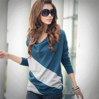[S1472]2014 Korean fashion ladies stitching bat sleeve casual long-sleeved T-shirt chiffon shirt Striped long-sleeved