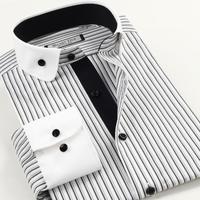 Korea Style Men Long Sleeve shirt Big Size XS-XXXL 4XL 5XL 6XL black and white stripe business casual cotton shirts slim fit