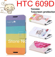 2014 Newest Flip Magnet Wallet Stand Printed PU Leather Case Cover For HTC 609D + Screen Protector Fits 609D Phone Accessories