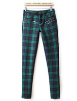 Free Shipping! 2013 Fashion Women Pant Casual New Stylish Green High Waist Plaid Elastic Pant
