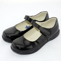 2014 kids black leather shoes school shoes for girls kids flats girls