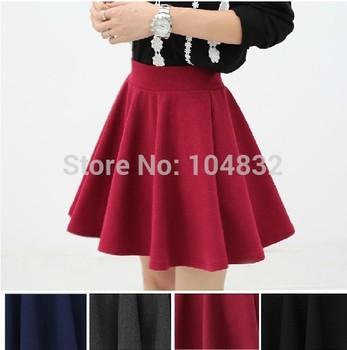 Восток вязание X-075 2014 женщин высокая талия плиссированные юбки 2014 новинка черный цвет конфеты юбка L XL Большой размер