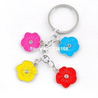 Free shipping agradavel para new year gifts wholesale zinc alloy enamel flower pendents fashion multicolored glory key chains