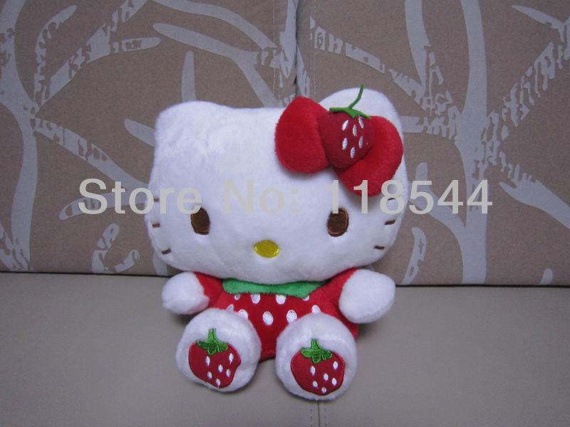 23cm strawberry hello kitty toys plush hello kitty plush soft toys stuffed hello kitty one piece free shipping(China (Mainland))