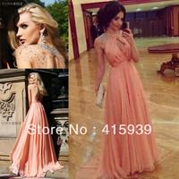Beautiful Halter Crystal Chiffon Sheer Backless Long Peach Coral Events Dress Evening Dress Women Free Shipping WL275