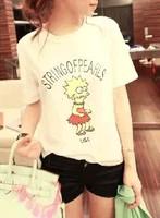 New arrival lovely  cartoon white short-sleeve T-shirt Simpson t-shirt