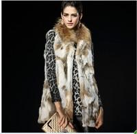 100% Real Raccoon Fur Collar Rabbit Hair Fur Vest ZPP042