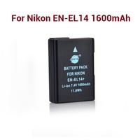 New Arrival Li-ion battery EN-EL14 For Nikon D5200 D3200 D5100 D3100 DF P7800 1600mAh battery B385