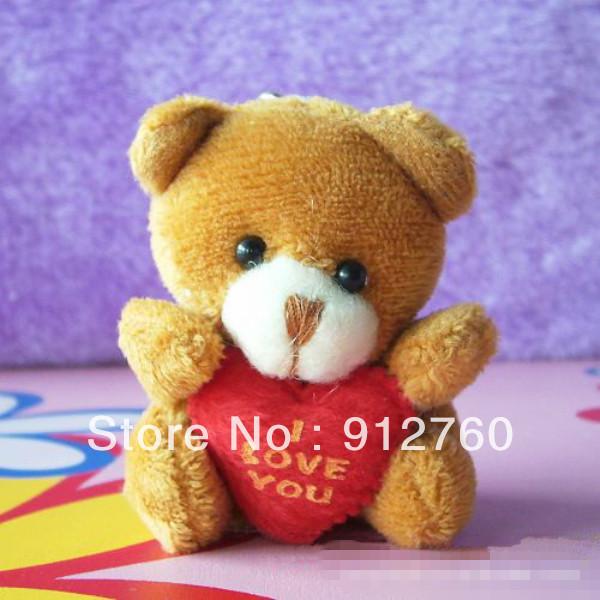 Wholesale 40pcs/Lot H=5.5cm Cartoon Tactic Bear I Love You Plush Pendants Toys/Dolls For Key/Phone/Christmas Gifts(China (Mainland))