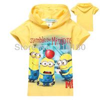 Retail baby boys girls cartoon Minions short sleeves hoodies/Hooded/Sweatshirts kids t shirt