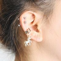 2014 New Fashion Unicorn Horse  no pierced ear clip ear bone clip
