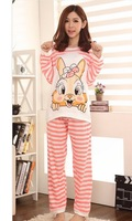 Rabbit pajamas cute cartoon knitted cotton long sleeved pajamas, Home Furnishing tracksuit home wear sleep clothes night gown