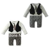 Wholesale !2014  popular baby romper ,baby clothing jumpsuit ,long sleeve gentlemen baby boys romper with tie 3pcs/lot BL-327