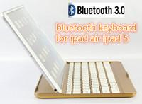 Luxury Brand Portable Mental Aluminium Ultra Thin Mute Wireless Bluetooth ABS full Golden Keyboard For Apple ipad 5 ipad Air