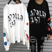 Korean Japanese Harajuku style graffiti planets universe moon rocket letters sweater p32771 , free shipping