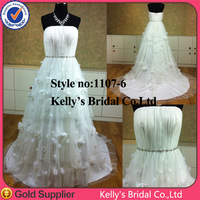 2014 hot sale cheap price A-line handmade flower pleating wedding dresses up games girls