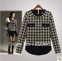 2014 fashion spring shirts  autumn chiffon grid clothes o-neck long-sleeve basic shirt 9122 T shirts women's Sweaters