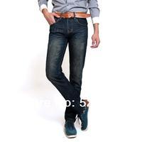 2013 new arrival men's fashion jeans famous brand,slim straight dark blue trousers cotton denim designer jeans man large size 38