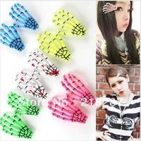 2014 new hot selling 50pcs/lot Halloween Skeleton Hand Bone Design Hair Clip Hairclip Womens Hair Accessories free shipping