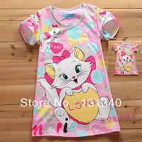 2014 Child nightgown female child sleepwear print mary cat baby short-sleeve pajamas free shipping