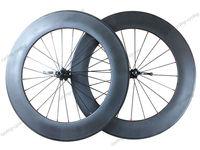 Free shipping 3k glossy or matte finish 88mm tubular carbon bike wheelset 700c road Racing V brake bicycle wheel
