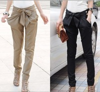 EAST KNITTING 2014 high waist women's Skinny Long Trousers OL casual Bow harem pants plus size Black, Khaki