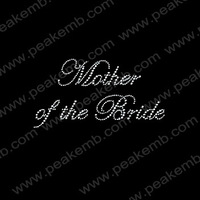 Hot Sale Custom Design Mother Of The Bride Bling Transfer Letter Rhinestone Applique Iron On Motif 50Pcs/Lot Free Shipping