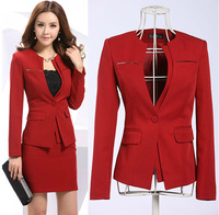 Newest 2014 Spring Professional Business Women Work Wear Skirts Suits Formal Women Sets For Office Ladies Red Plus Size XXXL