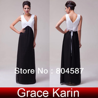 Free Shipping!Elegant Grace Karin A-line V-Neck Chiffon Ball Evening Pageant Gown Prom Wedding Party Long Formal Dress CL6036